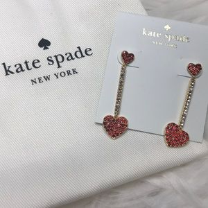 Kate Spade Pave Red Crystal Heart Earring - NWT